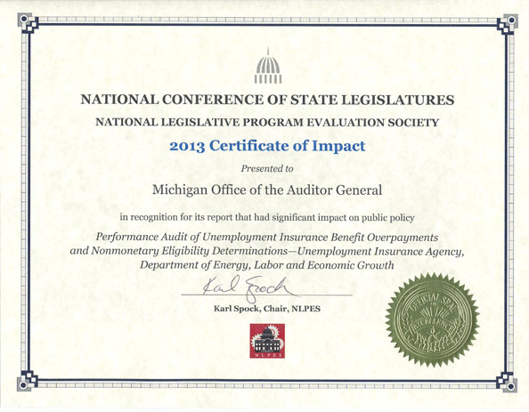 awards and recognition michigan office of the auditor general unemployment insurance benefit overpayments and nonmonetary determinations