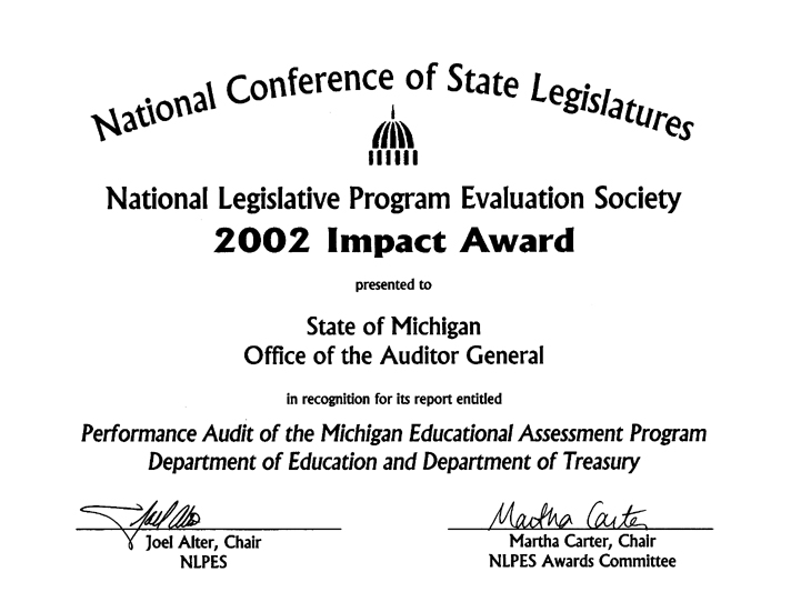 Performance Audit of the Michigan Educational Assessment Program