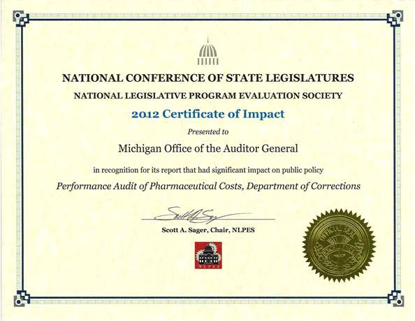 awards and recognition michigan office of the auditor general